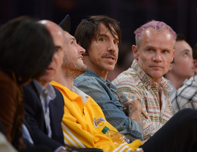 Nov 12, 2013; Los Angeles, CA, USA; Red Hot Chili Peppers lead singer Anthony Kiedis attends the NBA game between the New Orleans Pelicans and the Los Angeles Lakers at Staples Center. Mandatory Credit: Kirby Lee-USA TODAY Sports