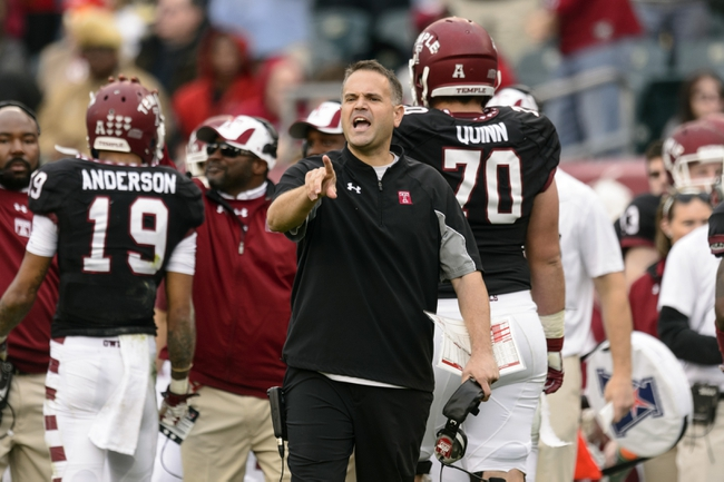 Nov 16, 2013; Philadelphia, PA, USA; Temple Owls head coach Matt Rhule during the second quarter against the UCF Knights at Lincoln Financial Field. Mandatory Credit: Howard Smith-USA TODAY Sports