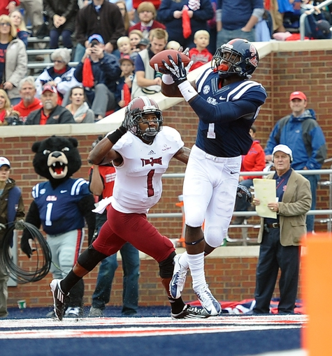 Nov 16, 2013; Oxford, MS, USA; Mississippi Rebels wide receiver Laquon Treadwell (1) catches a pass against the Troy Trojans during the first half at Vaught-Hemingway Stadium. Mandatory Credit: Justin Ford-USA TODAY Sports