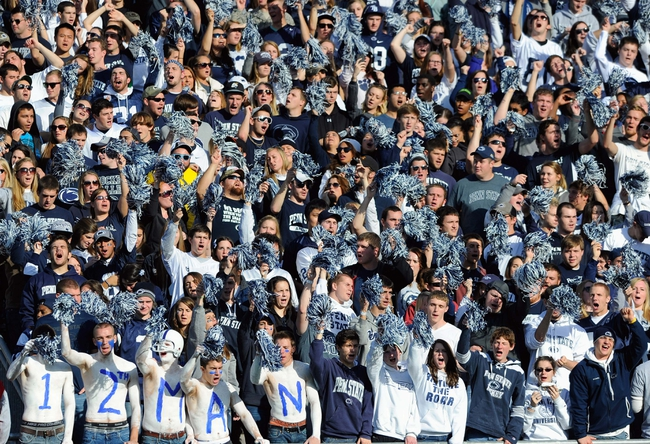 Nov 16, 2013; University Park, PA, USA; Penn State Nittany Lions fans cheer against the Purdue Boilermakers during the third quarter at Beaver Stadium.  Penn State defeated Purdue  45-21.  Mandatory Credit: Rich Barnes-USA TODAY Sports