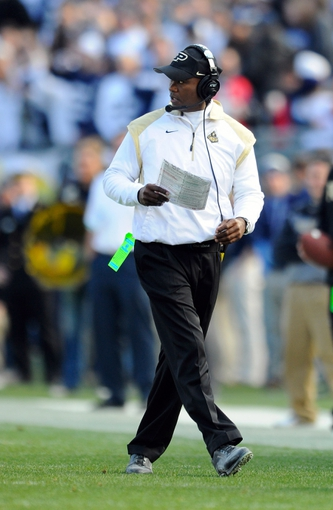 Nov 16, 2013; University Park, PA, USA; Purdue Boilermakers head coach Darrell Hazell looks on against the Penn State Nittany Lions during the third quarter at Beaver Stadium.  Penn State defeated Purdue  45-21.  Mandatory Credit: Rich Barnes-USA TODAY Sports