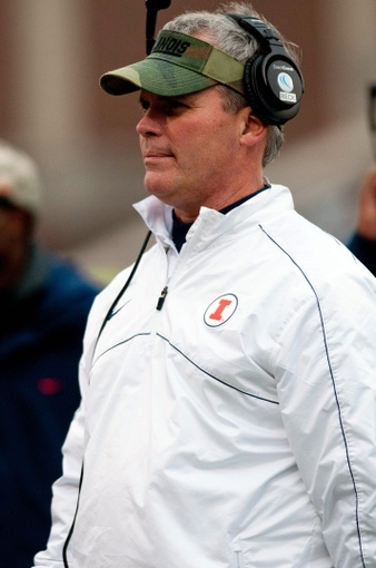 Nov 16, 2013; Champaign, IL, USA;  Illinois Fighting Illini head coach Tim Beckman during the fourth quarter against the Ohio State Buckeyes at Memorial Stadium. Mandatory Credit: Bradley Leeb-USA TODAY Sports