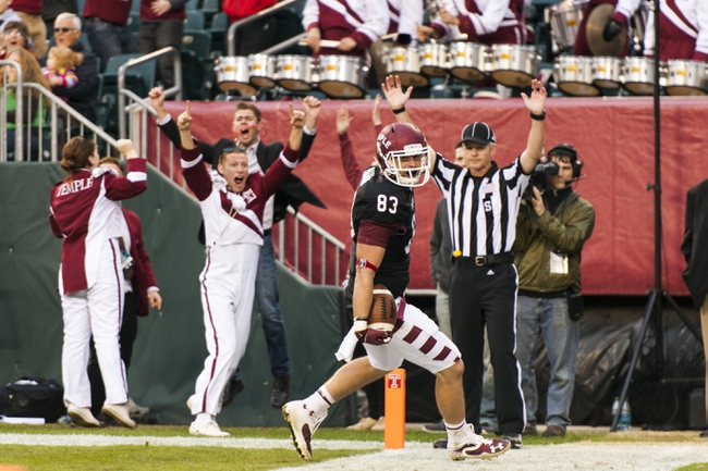 Nov 16, 2013; Philadelphia, PA, USA; Temple Owls tight end Chris Parthemore (83) celebrates scoring a touchdown during the fourth quarter against the UCF Knights at Lincoln Financial Field. UCF defeated Temple 39-36. Mandatory Credit: Howard Smith-USA TODAY Sports