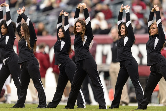Nov 16, 2013; Philadelphia, PA, USA; Members of the Temple Owls diamond gems dance team perform during the third quarter against the UCF Knights at Lincoln Financial Field. UCF defeated Temple 39-36. Mandatory Credit: Howard Smith-USA TODAY Sports