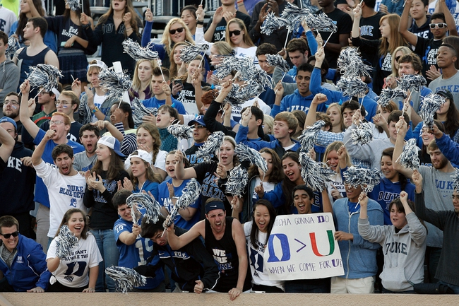 Nov 16, 2013; Durham, NC, USA; Duke Blue Devils fans celebrate a touchdown against the Miami Hurricanes at Wallace Wade Stadium. Mandatory Credit: Mark Dolejs-USA TODAY Sports