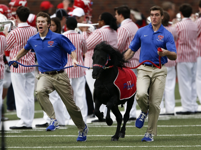 Nov 16, 2013; Dallas, TX, USA; Southern Methodist Mustangs mascot Peruna along with student handlers run onto the field before the NCAA football game against the Connecticut Huskies at Gerald J. Ford Stadium. Mandatory Credit: Jim Cowsert-USA TODAY Sports
