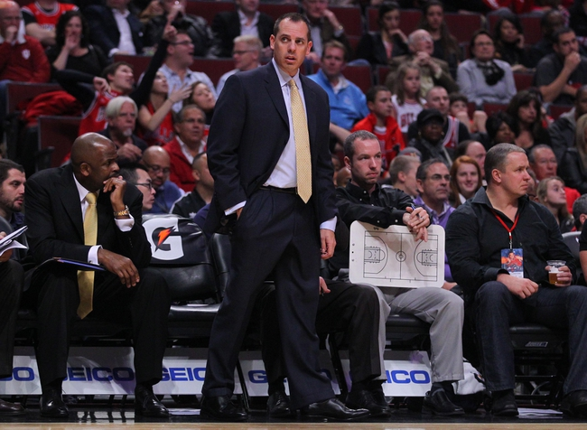 Nov 16, 2013; Chicago, IL, USA; Indiana Pacers head coach Frank Vogel during the second quarter against the Chicago Bulls at  the United Center. Mandatory Credit: Dennis Wierzbicki-USA TODAY Sports