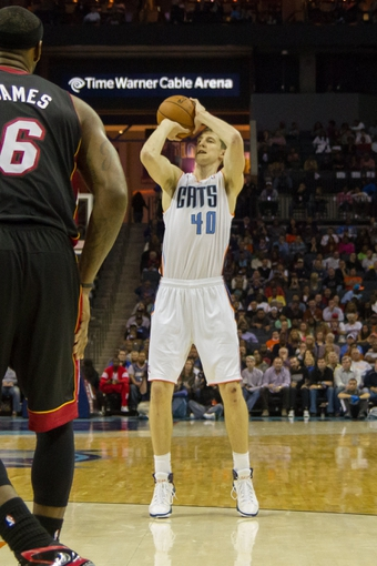 Nov 16, 2013; Charlotte, NC, USA; Charlotte Bobcats center Cody Zeller (40) shoots the ball against the Miami Heat during the second half at Time Warner Cable Arena. Miami defeated Charlotte 97-81. Mandatory Credit: Jeremy Brevard-USA TODAY Sports