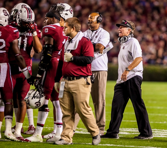 Nov 16, 2013; Columbia, SC, USA; South Carolina Gamecocks head coach Steve Spurrier directs his team against the Florida Gators in the second half at Williams-Brice Stadium. Mandatory Credit: Jeff Blake-USA TODAY Sports