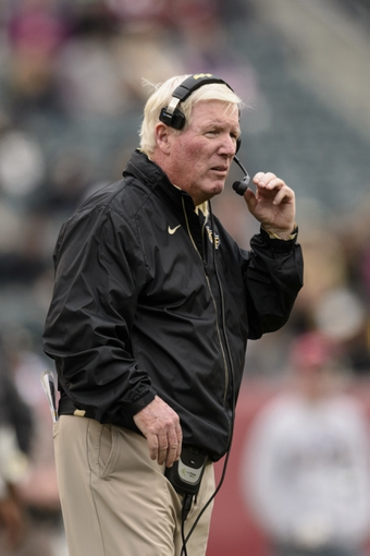 Nov 16, 2013; Philadelphia, PA, USA; UCF Knights head coach George O'Leary along the sidelines during the second quarter against the Temple Owls at Lincoln Financial Field. UCF defeated Temple 39-36. Mandatory Credit: Howard Smith-USA TODAY Sports