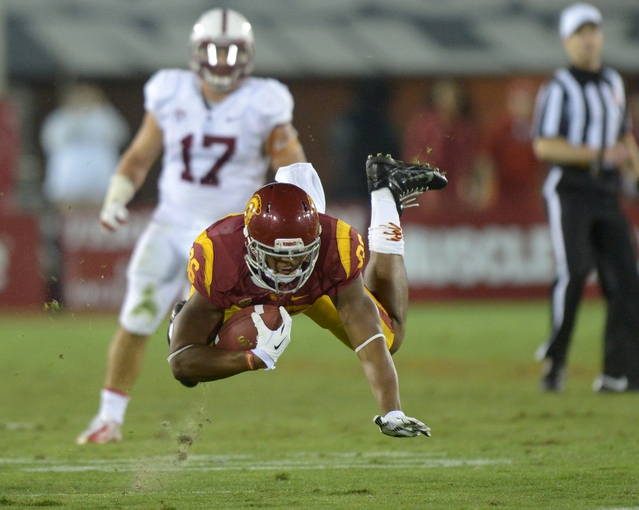 Nov 16, 2013; Los Angeles, CA, USA; Southern California Trojans tight end Xavier Grimble (86) during the game against the Stanford Cardinal at Los Angeles Memorial Coliseum. USC defeated Stanford 20-17. Mandatory Credit: Kirby Lee-USA TODAY Sports
