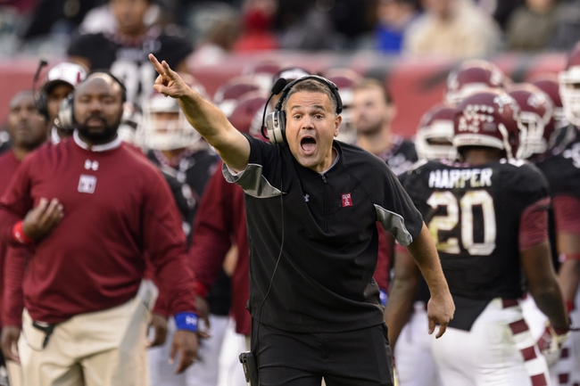 Nov 16, 2013; Philadelphia, PA, USA; Temple Owls head coach Matt Rhule during the fourth quarter against the UCF Knights at Lincoln Financial Field. UCF defeated Temple 39-36. Mandatory Credit: Howard Smith-USA TODAY Sports