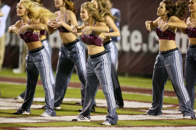 Nov 16, 2013; Starkville, MS, USA; Mississippi State Bulldogs pom squad entertains the crowd during a timeout in the game against the Alabama Crimson Tide at Davis Wade Stadium. Alabama Crimson Tide defeat the Mississippi State Bulldogs with a score of 20-7.  Mandatory Credit: Spruce Derden-USA TODAY Sports