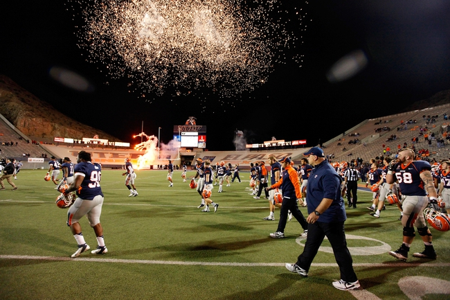 Nov 16, 2013; El Paso, TX, USA; The UTEP Miners walk onto the field after defeating the FIU Golden Panthers at Sun Bowl Stadium. Mandatory Credit: Ivan Pierre Aguirre-USA TODAY Sports