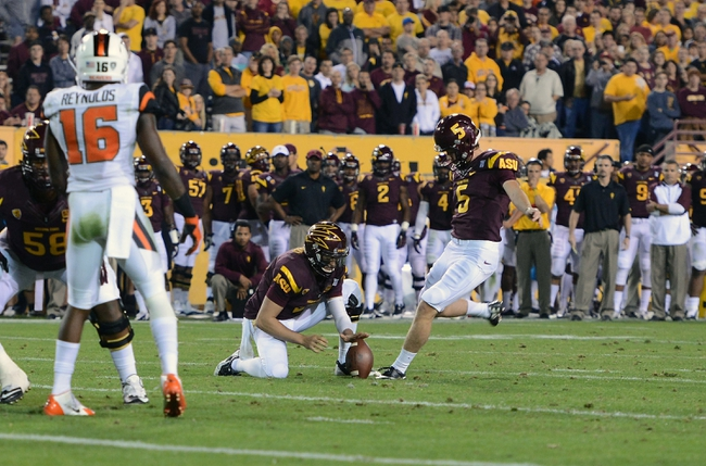 Nov 16, 2013; Tempe, AZ, USA; Arizona State Sun Devils kicker Zane Gonzalez (5) kicks the extra point in the second half of the game against Oregon State Beavers at Sun Devil Stadium. The Devils defeated the Beavers 30-17. Mandatory Credit: Jennifer Stewart-USA TODAY Sports