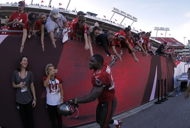 Nov 17, 2013; Tampa, FL, USA; Tampa Bay Buccaneers running back Bobby Rainey (43) high fives fans after they beat the Atlanta Falcons at Raymond James Stadium. Mandatory Credit: Kim Klement-USA TODAY Sports