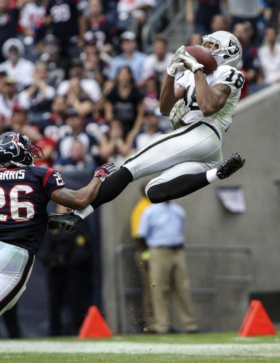 Nov 17, 2013; Houston, TX, USA; Oakland Raiders wide receiver Andre Holmes (18) attempts to make a catch during the fourth quarter against the Houston Texans at Reliant Stadium. The Raiders defeated the Texans 28-23. Mandatory Credit: Troy Taormina-USA TODAY Sports