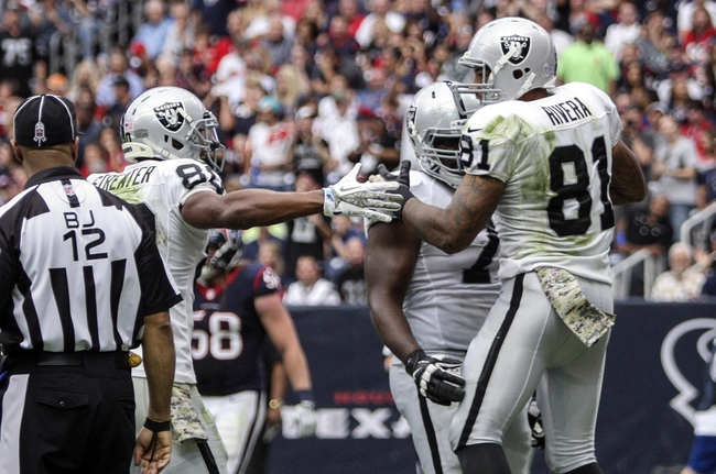 Nov 17, 2013; Houston, TX, USA; Oakland Raiders tight end Mychal Rivera (81) celebrates with teammates after scoring a touchdown during the third quarter against the Houston Texans at Reliant Stadium. The Raiders defeated the Texans 28-23. Mandatory Credit: Troy Taormina-USA TODAY Sports
