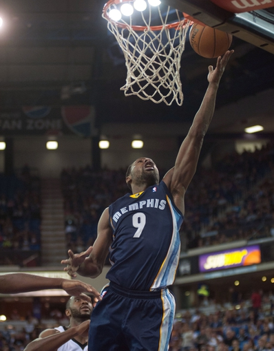 Nov 17, 2013; Sacramento, CA, USA; Memphis Grizzlies shooting guard Tony Allen (9) takes a shot against the Sacramento Kings during the second quarter at Sleep Train Arena. Mandatory Credit: Ed Szczepanski-USA TODAY Sports