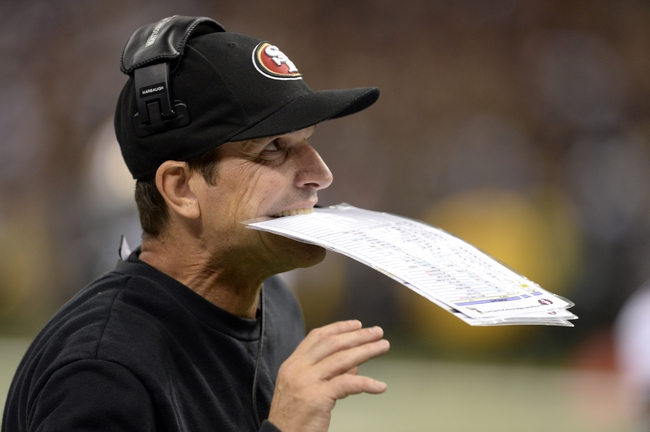 Nov 17, 2013; New Orleans, LA, USA; San Francisco 49ers head coach Jim Harbaugh looks on from the sidelines against the New Orleans Saints during the fourth quarter at the Mercedes-Benz Superdome. The New Orleans Saints defeated the San Francisco 49ers 23-20. Mandatory Credit: John David Mercer-USA TODAY Sports