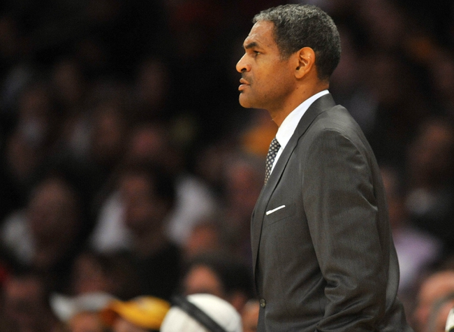 November 17, 2013; Los Angeles, CA, USA; Detroit Pistons head coach Maurice Cheeks watches game action against the Los Angeles Lakers during the first half at Staples Center. Mandatory Credit: Gary A. Vasquez-USA TODAY Sports