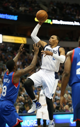 Nov 18, 2013; Dallas, TX, USA; Dallas Mavericks forward Shawn Marion (0) shoots in the first quarter against the Philadelphia 76ers at American Airlines Center. Mandatory Credit: Matthew Emmons-USA TODAY Sports