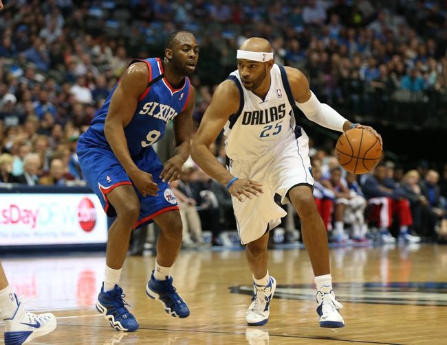 Nov 18, 2013; Dallas, TX, USA; Dallas Mavericks guard Vince Carter (25) drives against Philadelphia 76ers guard James Anderson (9) at American Airlines Center. Mandatory Credit: Matthew Emmons-USA TODAY Sports