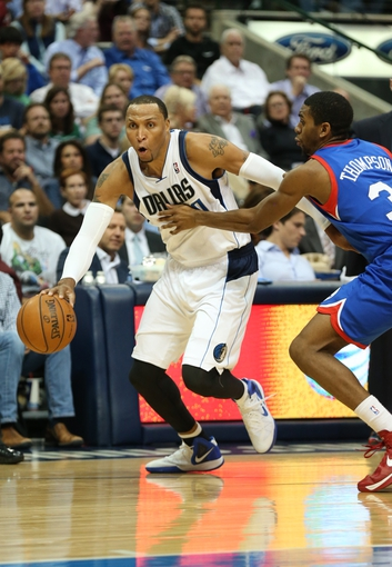 Nov 18, 2013; Dallas, TX, USA; Dallas Mavericks forward Shawn Marion (0) drives in the second quarter against Philadelphia 76ers forward Hollis Thompson (31) at American Airlines Center. Mandatory Credit: Matthew Emmons-USA TODAY Sports