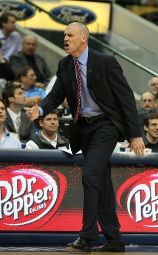 Nov 18, 2013; Dallas, TX, USA; Dallas Mavericks head coach Rick Carlisle argues a call in the second quarter against the Philadelphia 76ers at American Airlines Center. Mandatory Credit: Matthew Emmons-USA TODAY Sports