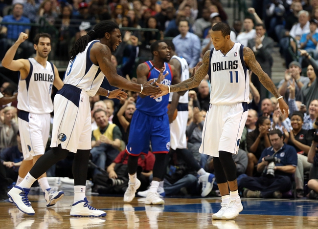 Nov 18, 2013; Dallas, TX, USA; Dallas Mavericks guard Monta Ellis (11) celebrates with forward Jae Crowder (9) after making a basket and getting fouled in the fourth quarter against the Philadelphia 76ers at American Airlines Center. Mandatory Credit: Matthew Emmons-USA TODAY Sports