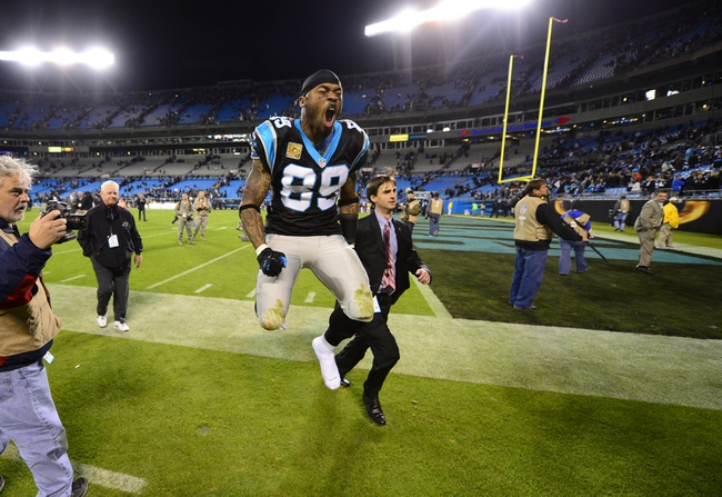 Nov 18, 2013; Charlotte, NC, USA; Carolina Panthers wide receiver Steve Smith (89) reacts as he leaves the field. The Panthers defeated the Patriots 24-20 at Bank of America Stadium. Mandatory Credit: Bob Donnan-USA TODAY Sports