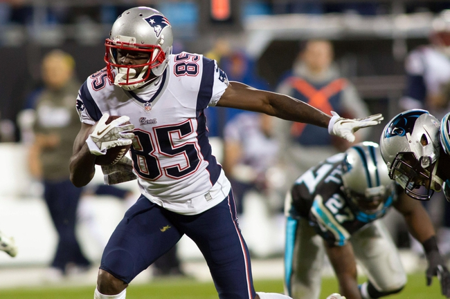 Nov 18, 2013; Charlotte, NC, USA; New England Patriots wide receiver Kenbrell Thompkins (85) runs after catching a pass during the fourth quarter against the Carolina Panthers at Bank of America Stadium. The Panthers defeated the Patriots 24-20. Mandatory Credit: Jeremy Brevard-USA TODAY Sports