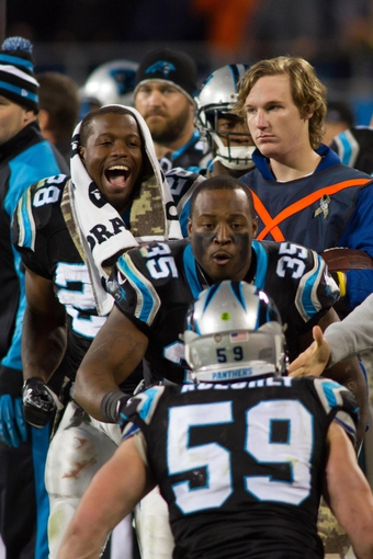 Nov 18, 2013; Charlotte, NC, USA; Carolina Panthers running back Jonathan Stewart (28) and fullback Mike Tolbert (35) react after linebacker Luke Kuechly (59) breaks up a pass during the fourth quarter against the New England Patriots at Bank of America Stadium. The Panthers defeated the Patriots 24-20. Mandatory Credit: Jeremy Brevard-USA TODAY Sports