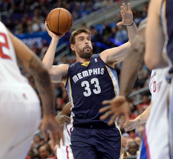 Nov 18, 2013; Los Angeles, CA, USA; Memphis Grizzlies center Marc Gasol (33) drives the lane against the Los Angeles Clippers during second quarter action at Staples Center. Mandatory Credit: Robert Hanashiro-USA TODAY Sports