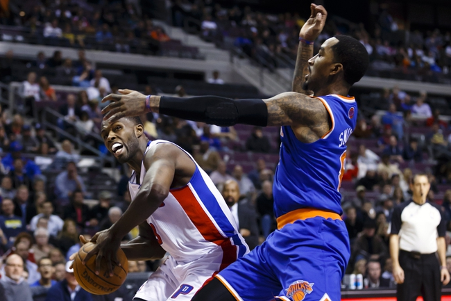 Nov 19, 2013; Auburn Hills, MI, USA; Detroit Pistons shooting guard Rodney Stuckey (3) is defended by New York Knicks shooting guard J.R. Smith (8) in the third quarter at The Palace of Auburn Hills. Detroit 92-86. Mandatory Credit: Rick Osentoski-USA TODAY Sports