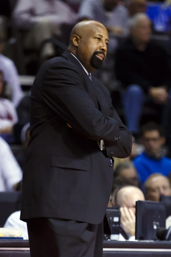 Nov 19, 2013; Auburn Hills, MI, USA; New York Knicks head coach Mike Woodson reacts in the third quarter against the Detroit Pistons at The Palace of Auburn Hills. Detroit 92-86. Mandatory Credit: Rick Osentoski-USA TODAY Sports