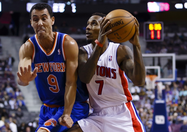 Nov 19, 2013; Auburn Hills, MI, USA; Detroit Pistons point guard Brandon Jennings (7) is defended by New York Knicks point guard Pablo Prigioni (9) in the fourth quarter at The Palace of Auburn Hills. Detroit 92-86. Mandatory Credit: Rick Osentoski-USA TODAY Sports