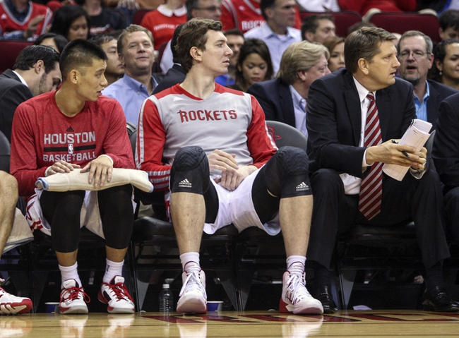 Nov 19, 2013; Houston, TX, USA; Houston Rockets center Omer Asik (3) sits on the bench during the third quarter against the Boston Celtics at Toyota Center. Mandatory Credit: Troy Taormina-USA TODAY Sports