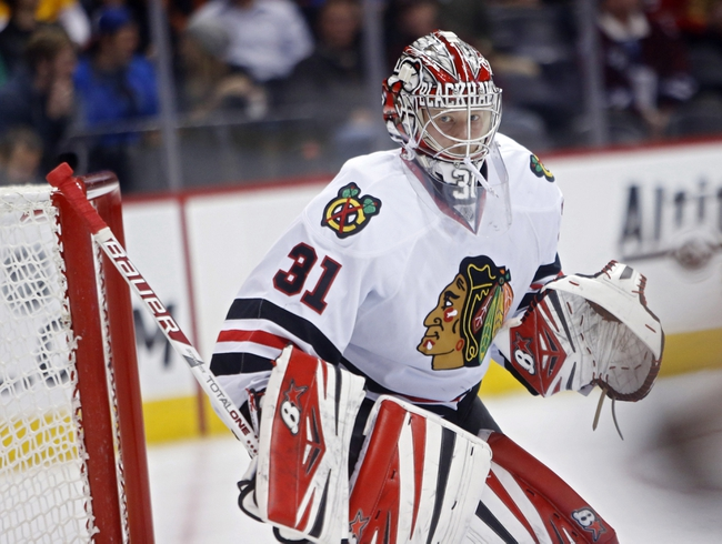 Nov 19, 2013; Denver, CO, USA;  Chicago Blackhawks goalie Antti Raanta (31) during the second period against the Colorado Avalanche at Pepsi Center. Mandatory Credit: Chris Humphreys-USA TODAY Sports
