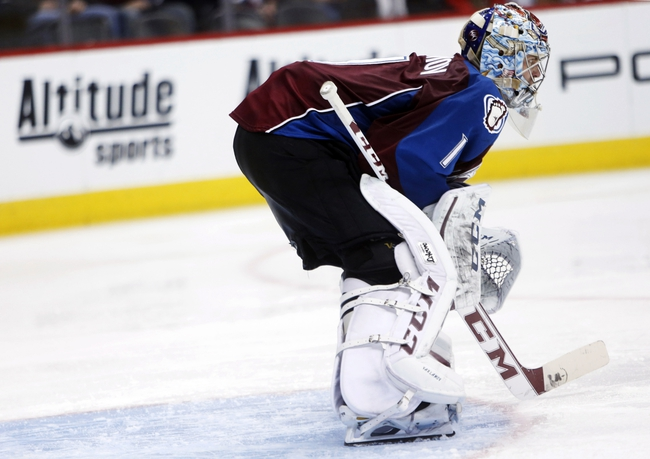 Nov 19, 2013; Denver, CO, USA; Colorado Avalanche goalie Semyon Varlamov (1) during the third period against the Chicago Blackhawks at Pepsi Center. The Avalanche won 5-1. Mandatory Credit: Chris Humphreys-USA TODAY Sports