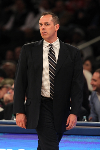 Nov 20, 2013; New York, NY, USA; Indiana Pacers head coach Frank Vogel watches game action against the New York Knicks during the third quarter at Madison Square Garden. The Pacers defeated the Knicks 103-96 in overtime. Mandatory Credit: Brad Penner-USA TODAY Sports