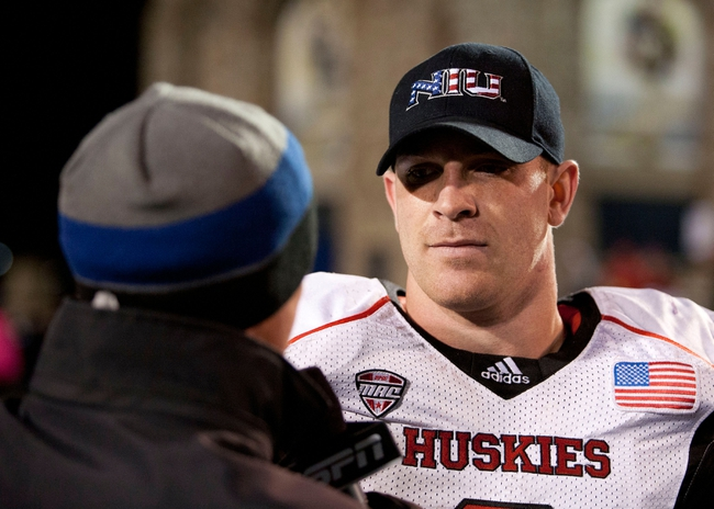 Nov 20, 2013; Toledo, OH, USA; Northern Illinois Huskies quarterback Jordan Lynch (6) is interviewed after the game against the Toledo Rockets at Glass Bowl. The Huskies beat the Rockets 35-17. Mandatory Credit: Raj Mehta-USA TODAY Sports