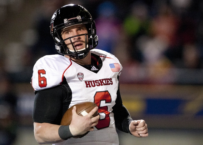 Nov 20, 2013; Toledo, OH, USA; Northern Illinois Huskies quarterback Jordan Lynch (6) during the third quarter against the Toledo Rockets at Glass Bowl. The Huskies beat the Rockets 35-17. Mandatory Credit: Raj Mehta-USA TODAY Sports