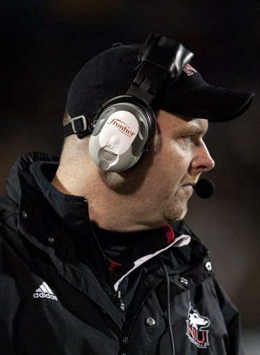 Nov 20, 2013; Toledo, OH, USA; Northern Illinois Huskies head coach Rod Carey looks on during the fourth quarter against the Toledo Rockets at Glass Bowl. The Huskies beat the Rockets 35-17. Mandatory Credit: Raj Mehta-USA TODAY Sports