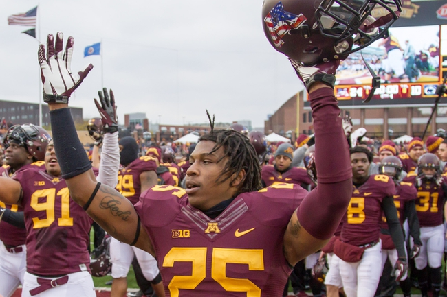 Nov 9, 2013; Minneapolis, MN, USA; Minnesota Gophers wide receiver Devon Wright (25) celebrates the win against Penn State Nittany Lions at TCF Bank Stadium. Minnesota wins 24-10. Mandatory Credit: Brad Rempel-USA TODAY Sports