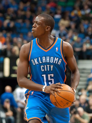 Nov 1, 2013; Minneapolis, MN, USA; Oklahoma City Thunder point guard Reggie Jackson (15) during the second quarter against the Minnesota Timberwolves at Target Center. Timberwolves won 100-81. Mandatory Credit: Greg Smith-USA TODAY Sports