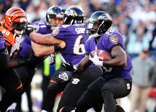 Nov 10, 2013; Baltimore, MD, USA; Baltimore Ravens running back Bernard Pierce (30) runs with the ball during the game against the Cincinnati Bengals at M&T Bank Stadium. Mandatory Credit: Evan Habeeb-USA TODAY Sports