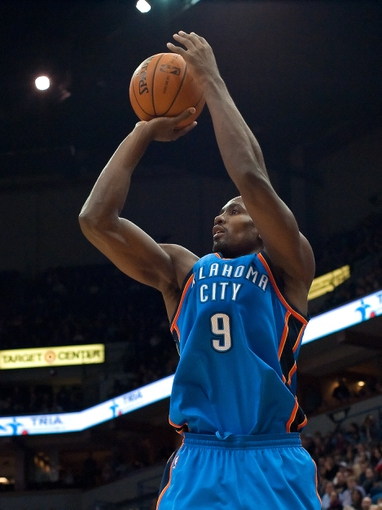 Nov 1, 2013; Minneapolis, MN, USA; Oklahoma City Thunder power forward Serge Ibaka (9) shoots against the Minnesota Timberwolves in the second quarter at Target Center. Timberwolves won 100-81. Mandatory Credit: Greg Smith-USA TODAY Sports