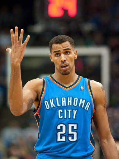 Nov 1, 2013; Minneapolis, MN, USA; Oklahoma City Thunder shooting guard Thabo Sefolosha (25) during the second quarter against the Minnesota Timberwolves at Target Center. Timberwolves won 100-81. Mandatory Credit: Greg Smith-USA TODAY Sports