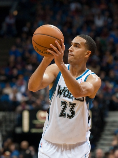 Nov 1, 2013; Minneapolis, MN, USA; Minnesota Timberwolves shooting guard Kevin Martin (23) shoots against the Oklahoma City Thunder during the second quarter at Target Center. Timberwolves won 100-81. Mandatory Credit: Greg Smith-USA TODAY Sports